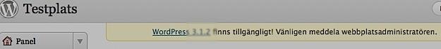 Meddelande i wordpress-panelen