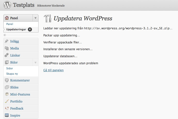 WordPress uppdateringen har gått bra