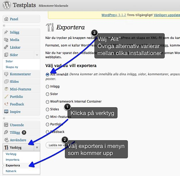 Exportera Allt i WordPress