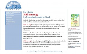 OrdGlob Förlag - ny webbplats lanserar Sue Johnsons Håll om mig